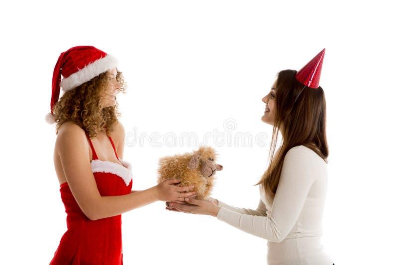 Duas meninas que guardam o presente do Xmas foto de stock