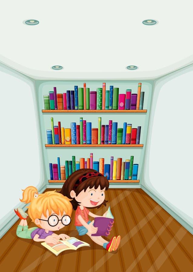 Duas meninas que leem dentro da sala ilustração royalty free