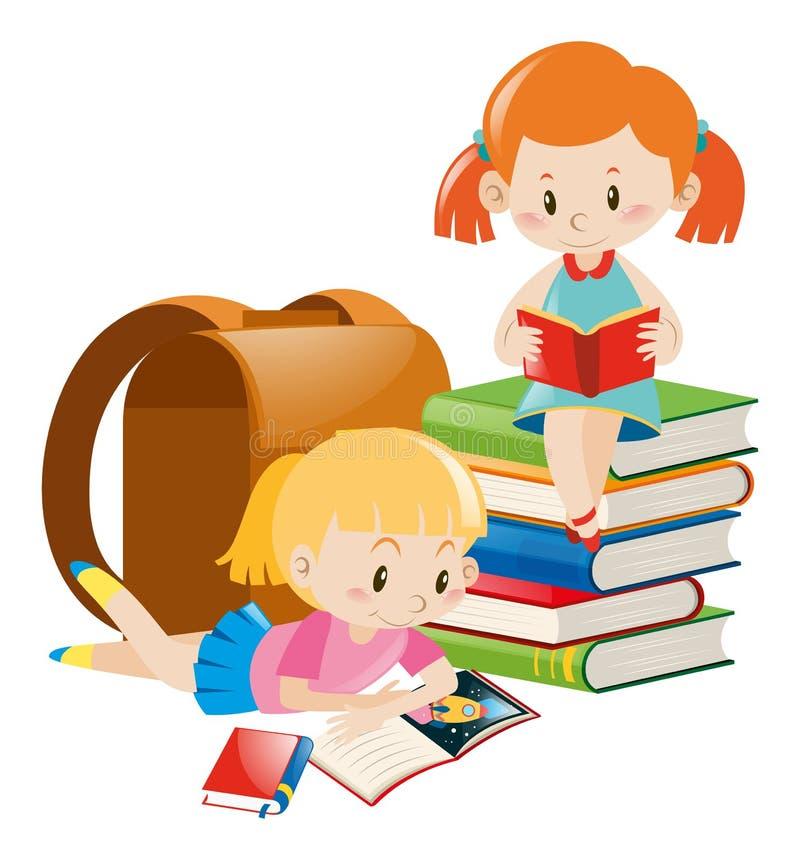 Duas meninas que leem livros de texto ilustração do vetor