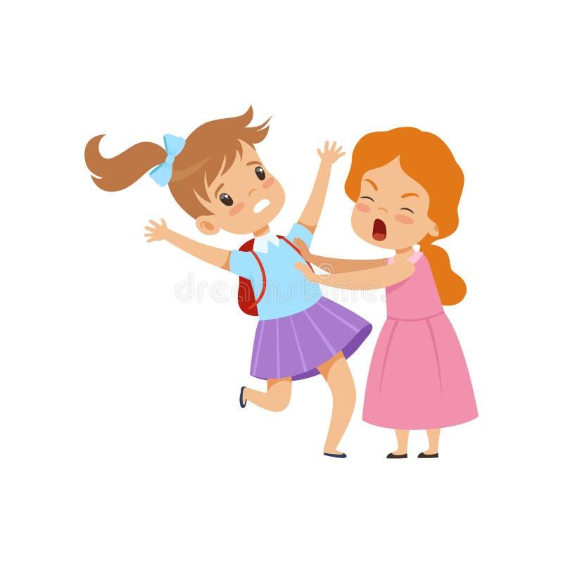 Duas meninas que lutam, comportamento mau, conflito entre crianças, zombaria e tiranizando na ilustração do vetor da escola em um ilustração do vetor