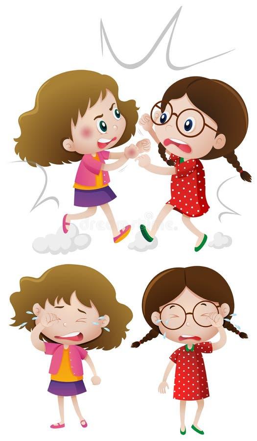 Duas meninas que lutam e que gritam ilustração royalty free