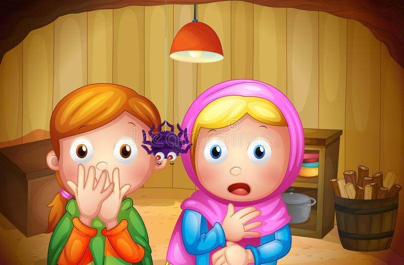 Duas meninas que olham a aranha ilustração royalty free