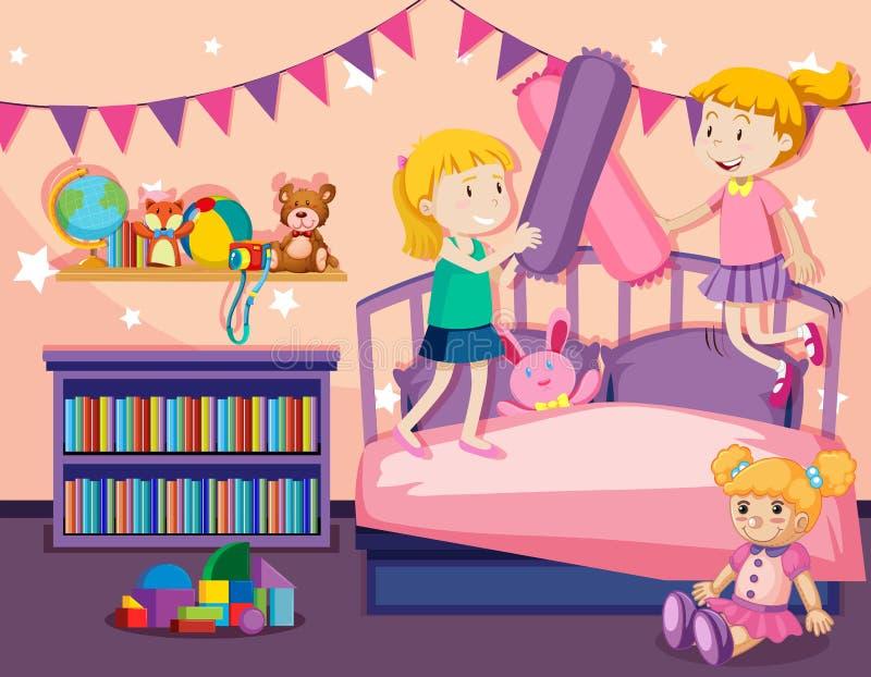 Duas meninas que saltam na cama ilustração royalty free