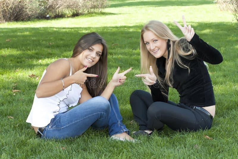 Duas meninas que sentam-se na grama foto de stock royalty free