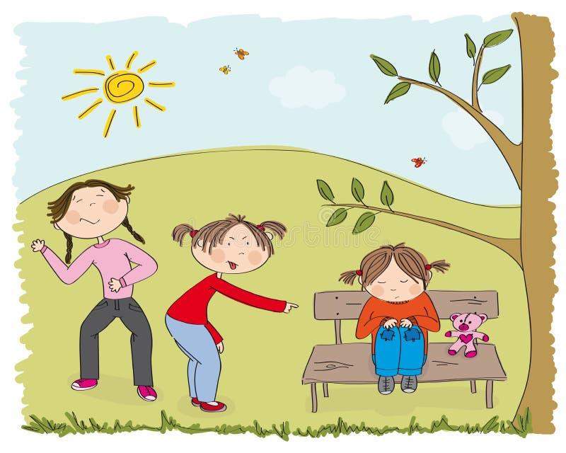 Duas meninas que tiranizam a menina pobre, sneering, ofendendo a ilustração stock