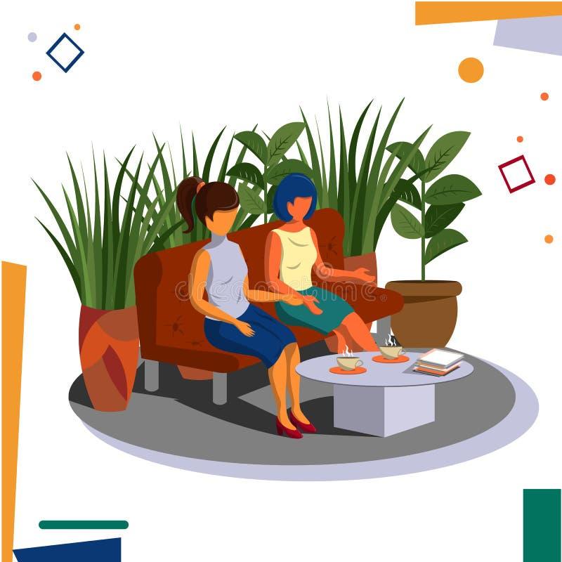 Duas meninas que trabalham no escritório durante uma ruptura para uma xícara de café na área de recreação ilustração stock
