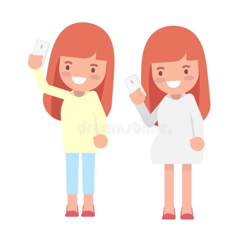 Duas meninas que usam o caráter liso bonito do smartphone e do selfie ilustração royalty free
