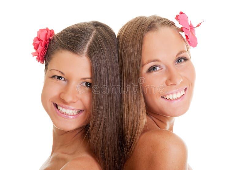Duas meninas vívidas fotos de stock