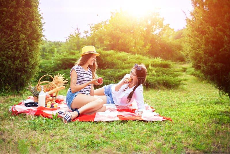 Duas moças bonitas em um piquenique do verão que comem maçãs fotografia de stock royalty free
