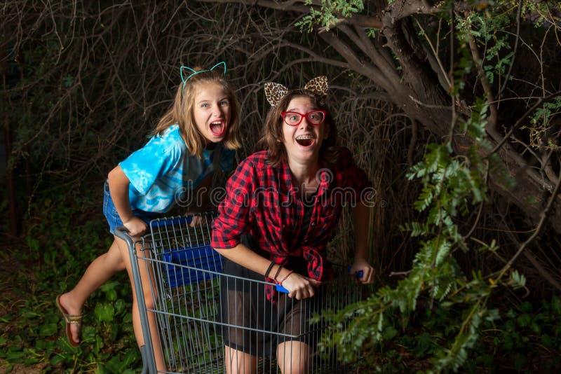 Duas moças que jogam em um carrinho de compras sob um coberto de vegetação me foto de stock royalty free