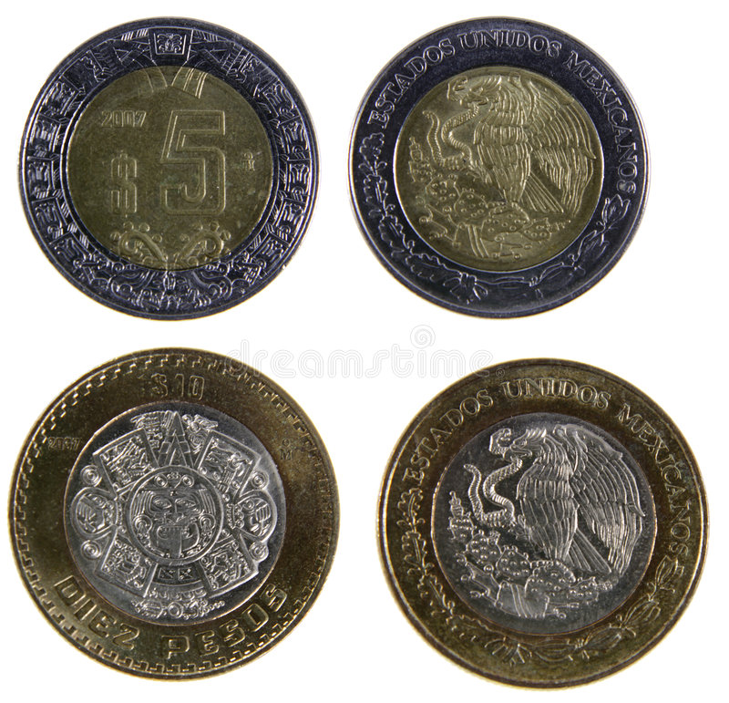 Duas moedas mexicanas do peso foto de stock royalty free