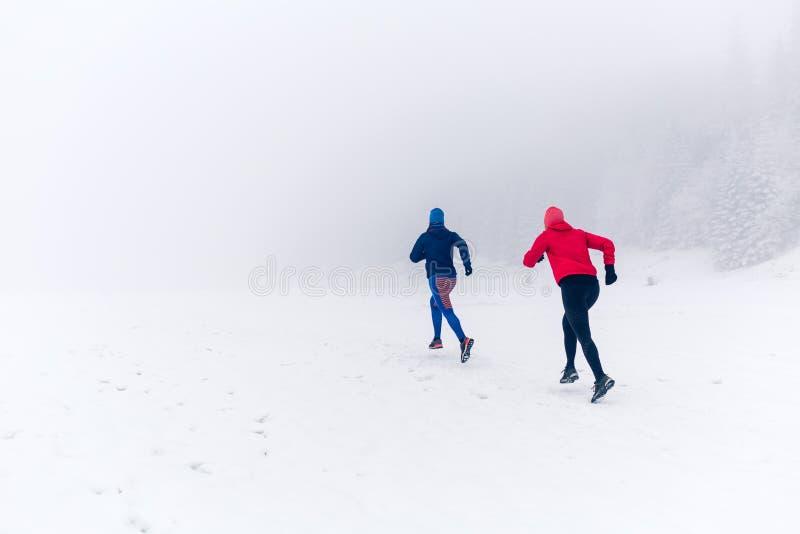 Duas mulheres arrastam o corredor na neve em montanhas do inverno fotos de stock