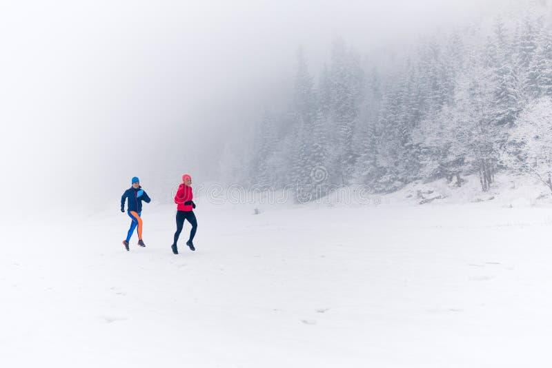 Duas mulheres arrastam o corredor na neve em montanhas do inverno imagens de stock royalty free