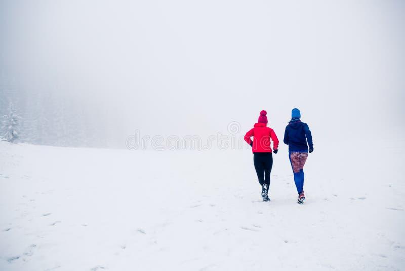 Duas mulheres arrastam o corredor na neve em montanhas do inverno fotografia de stock
