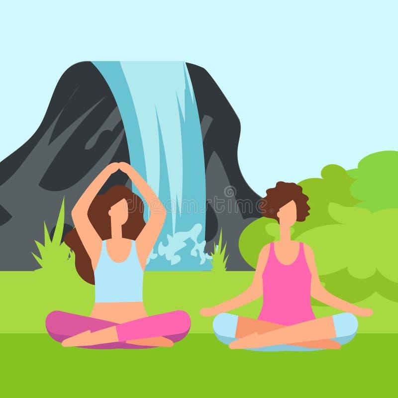 Duas mulheres da meditação na natureza com arbusto e a cachoeira verdes ilustração royalty free