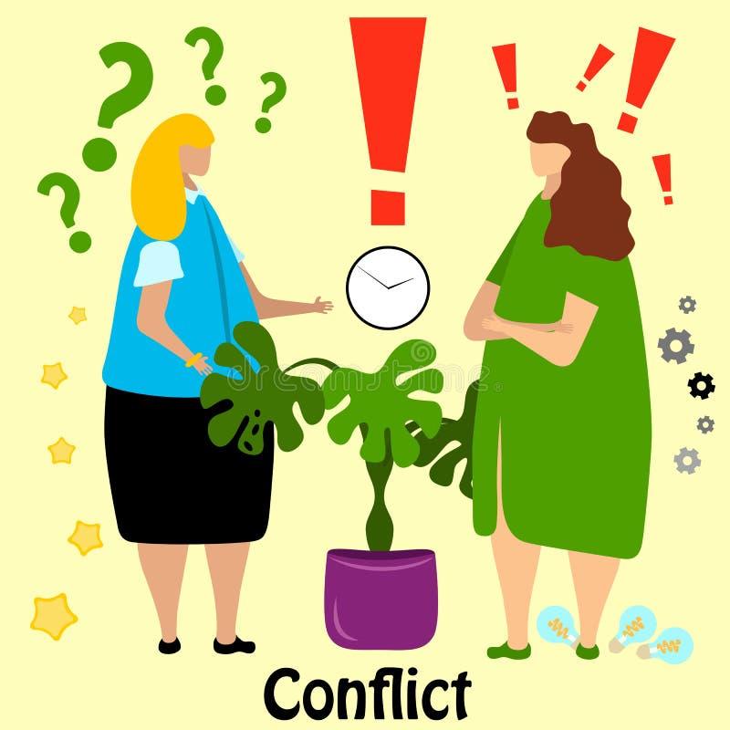 Duas mulheres de negócio bonitos, trabalhador de escritório, discussão do gerente e para jurar ilustração do vetor