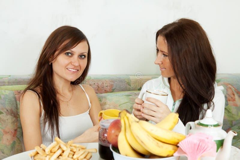 Duas mulheres de sorriso têm o chá fotos de stock