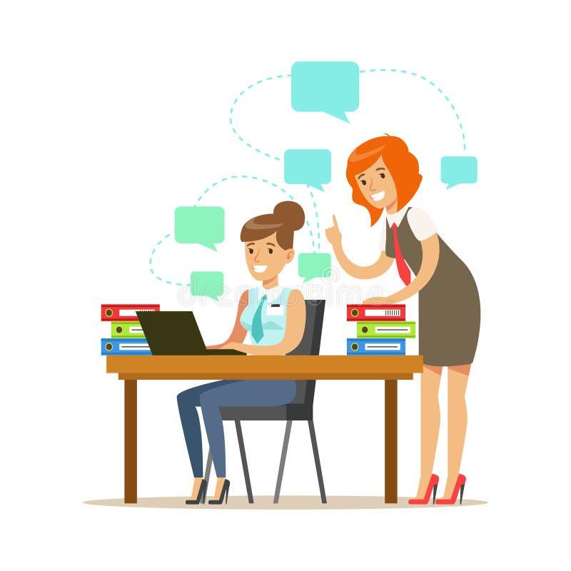 Duas mulheres do empregado que trabalham em um projeto Ilustração colorida do vetor do personagem de banda desenhada ilustração do vetor