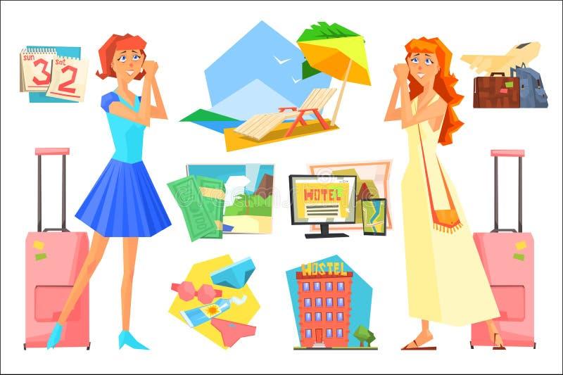 Duas mulheres em antecipação às férias férias de verão do planeamento Calendário, acessórios da praia, bagagem, avião, hotel ilustração royalty free