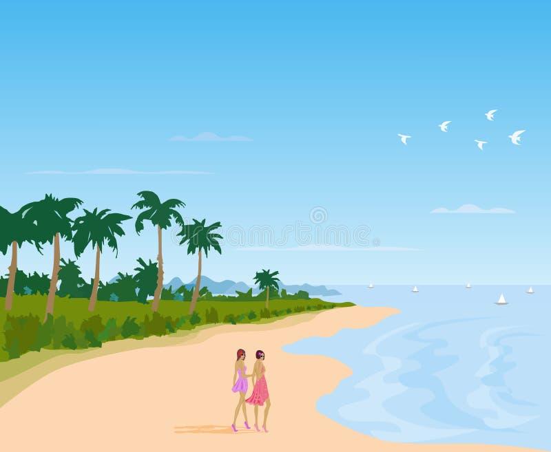 Duas mulheres em uma saia que andam fundo em uma Long Beach, mar ilustração royalty free