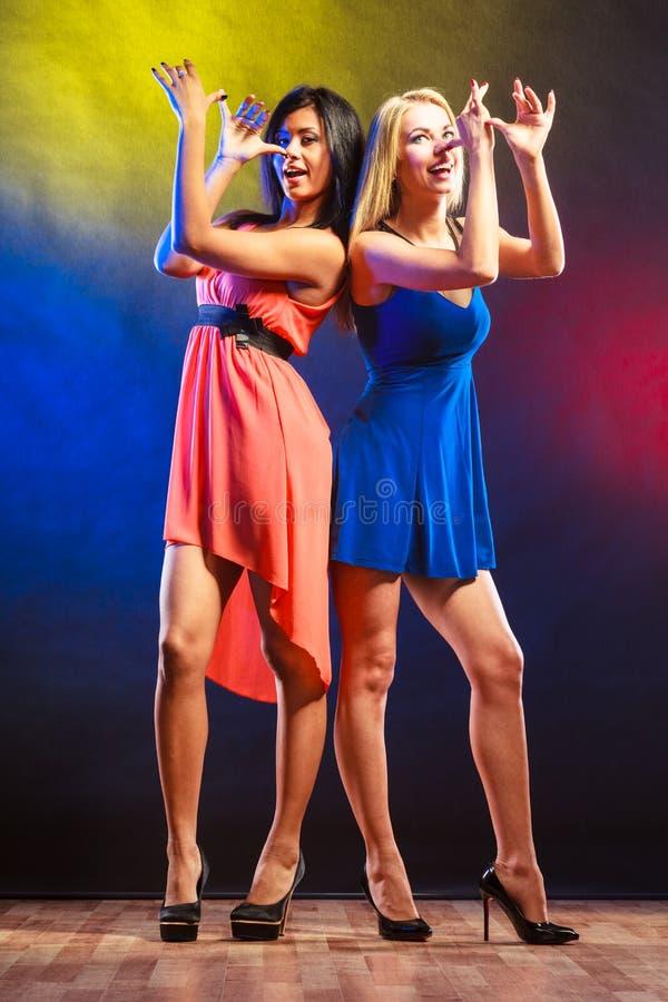 Duas mulheres engraçadas nos vestidos fotografia de stock royalty free