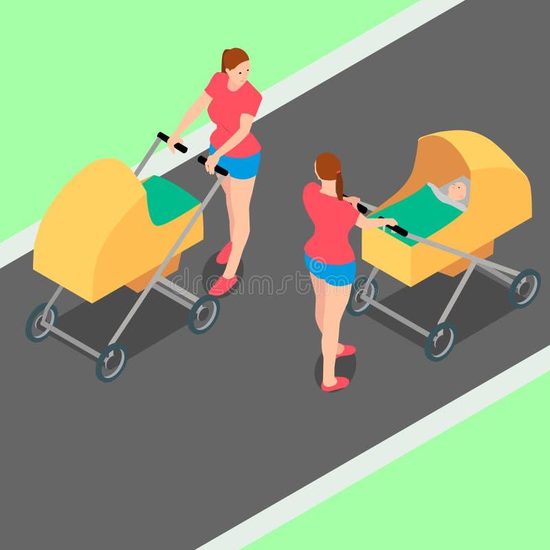 Duas mulheres idênticas com carrinhos de criança estão andando no parque ilustração stock
