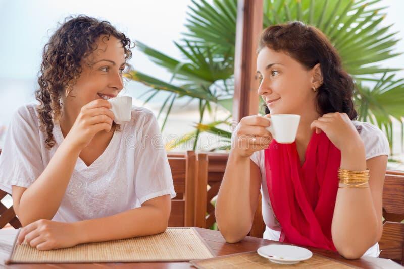 Duas mulheres novas com os copos que sentam-se em um mandril imagem de stock