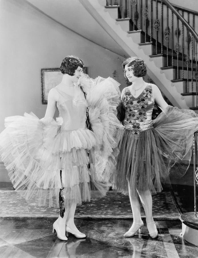 Duas mulheres que olham cada outro vestem-se (todas as pessoas descritas não são umas vivas mais longo e nenhuma propriedade exis imagem de stock royalty free