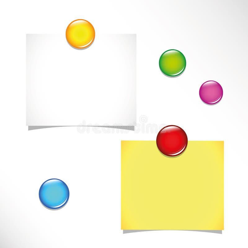 Duas notas pegajosas vazias e pinos coloridos do impulso em um quadro de mensagens ilustração stock