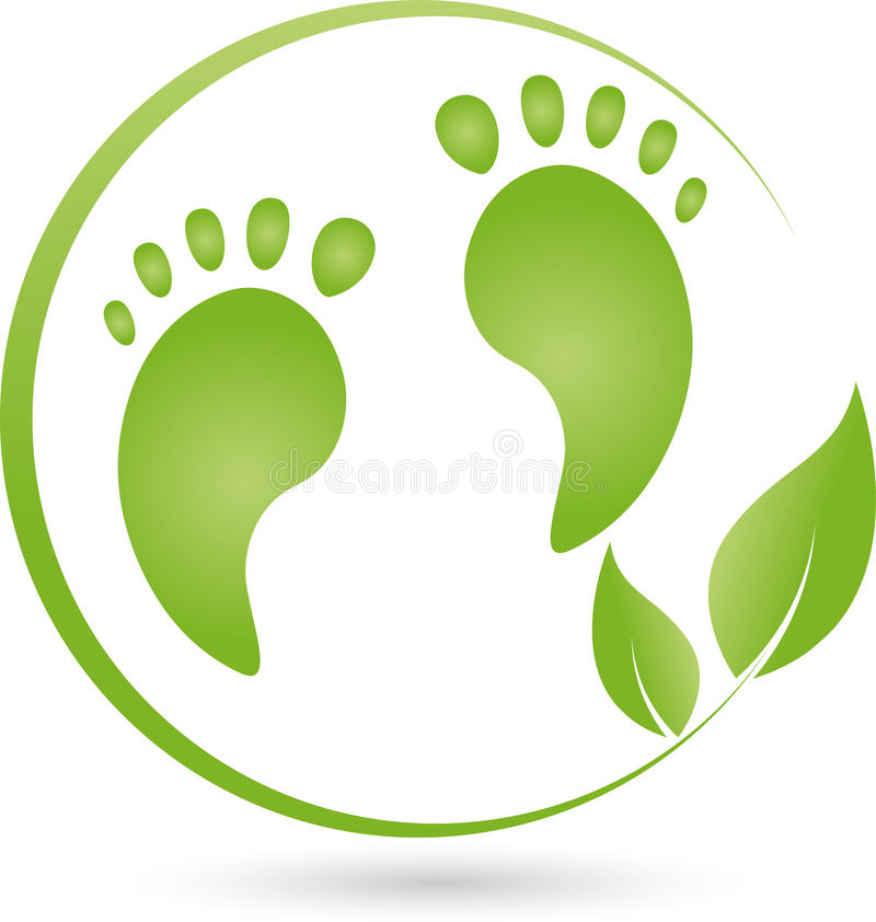 Duas pés e folhas, cuidado de pé e logotipo da massagem ilustração stock