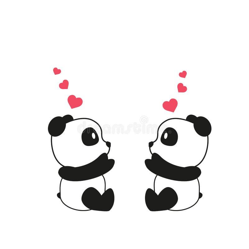 Duas pandas bonitos pequenas com corações cor-de-rosa da aquarela Cartão para o dia do Valentim s, dia da mãe s, dia do pai s, an ilustração stock