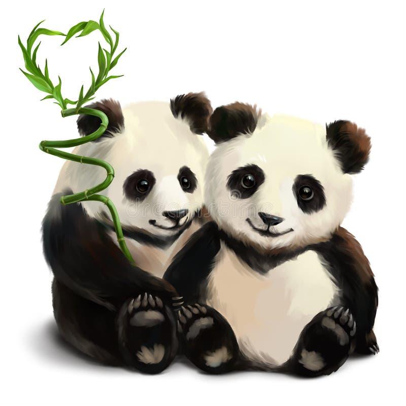Duas pandas e um ramo de bambu ilustração royalty free