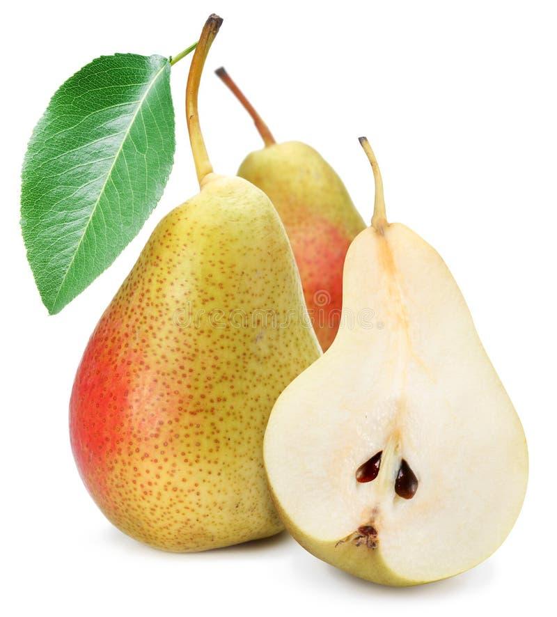 Duas peras apetitosas com uma folha fotografia de stock royalty free