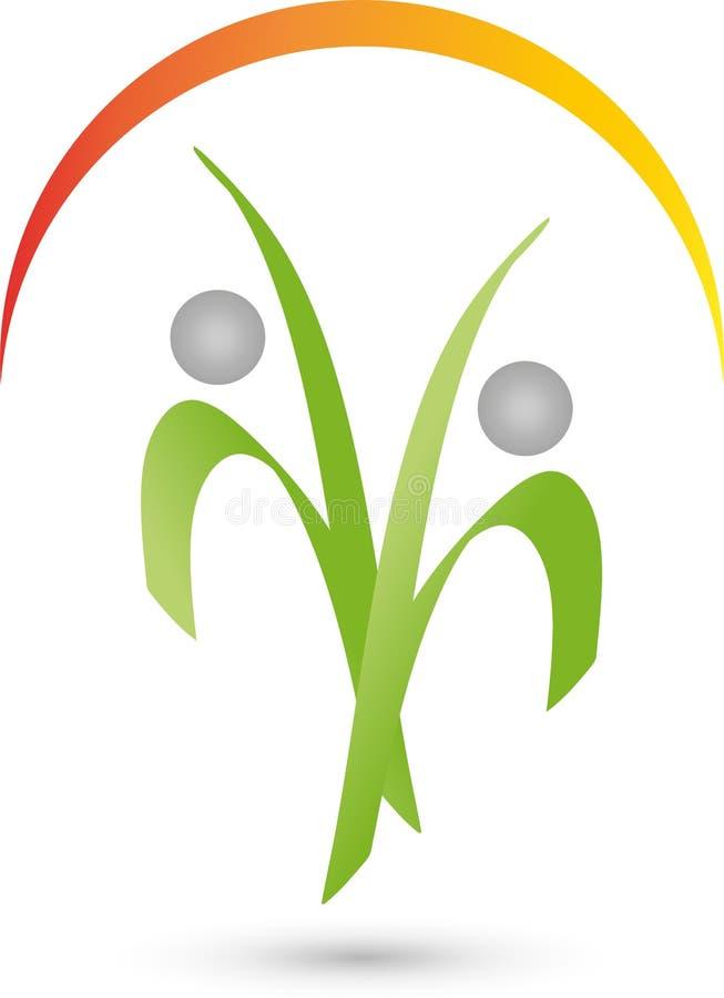 Duas pessoas no logotipo do movimento, da aptidão e do esporte ilustração do vetor