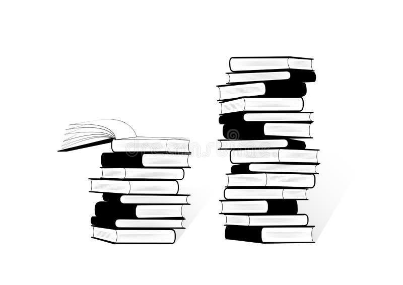 Duas pilhas preto e branco de livros isolados no fundo branco, ilustração do vetor ilustração do vetor