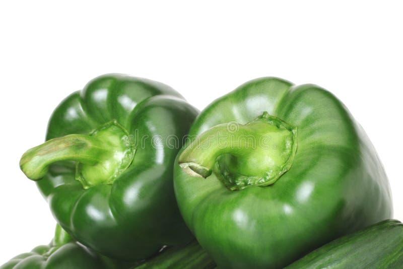Duas pimentas verdes. imagens de stock