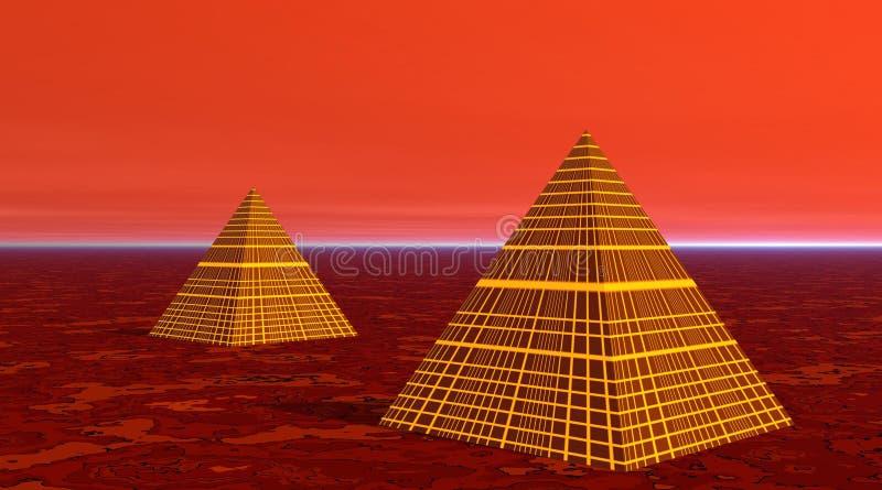 Duas pirâmides no deserto vermelho ilustração do vetor