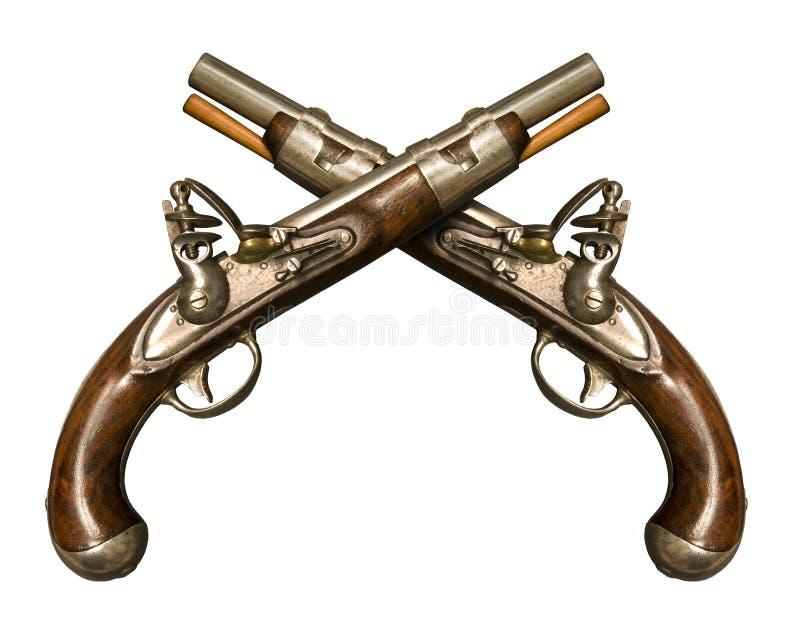 Duas pistolas cruzadas do Flintlock foto de stock royalty free