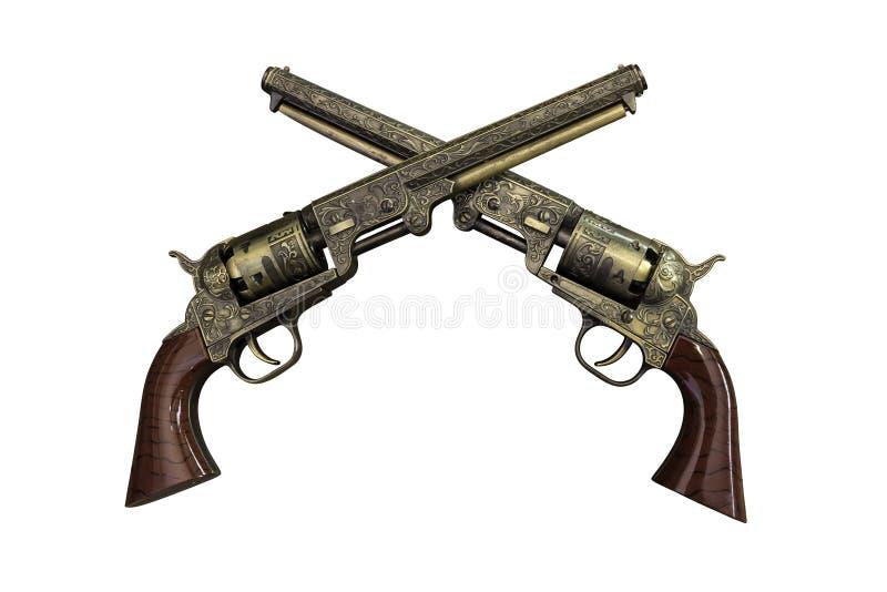 Duas pistolas do vintage no fundo de madeira imagens de stock royalty free