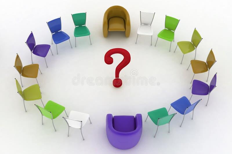 Duas poltronas de cadeiras do chefe e do grupo com ponto de interrogação no centro ilustração royalty free