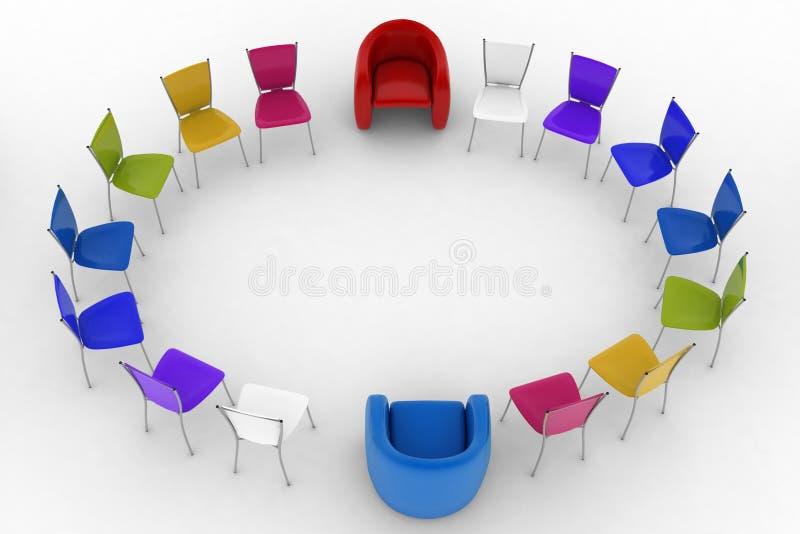 Duas poltronas do chefe e grupo de cadeiras coloridos do escritório ilustração do vetor