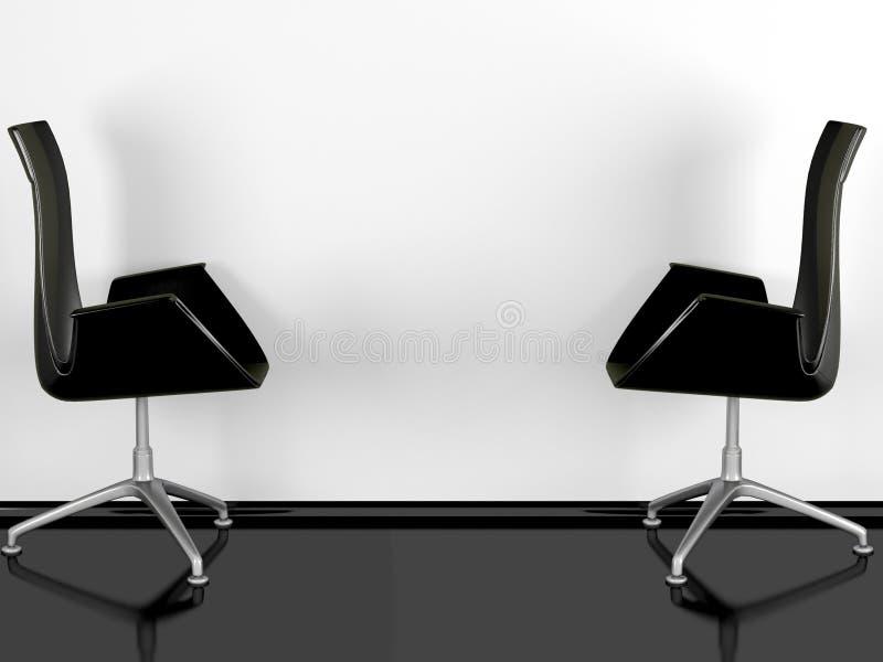 Duas poltronas pretas do escritório internas ilustração stock
