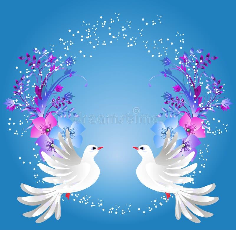 Duas pombas e ornamento floral ilustração do vetor