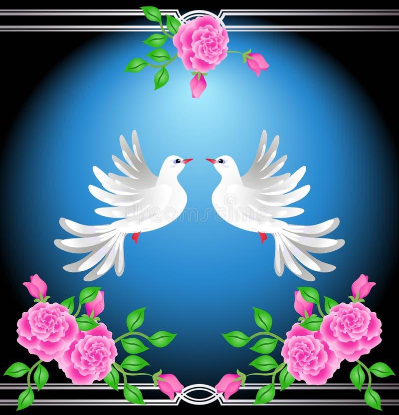 Duas pombas e rosas ilustração do vetor