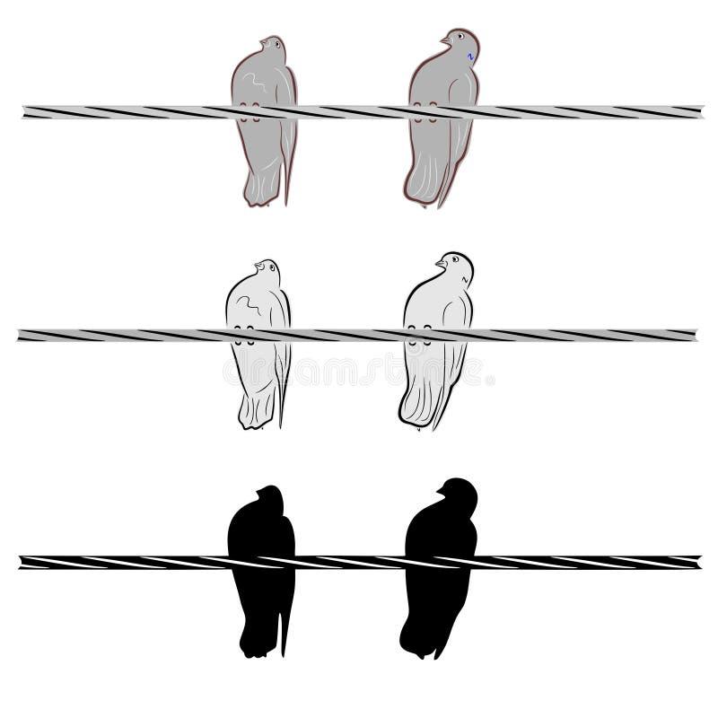 Duas pombas em um fio ilustração do vetor