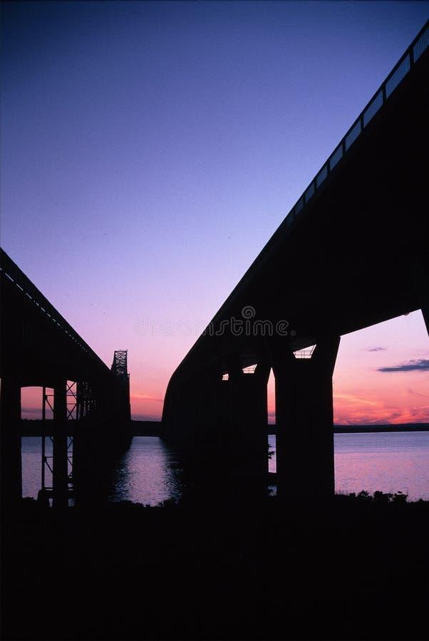 Duas pontes -- Jamestown, Rhode - console imagens de stock royalty free
