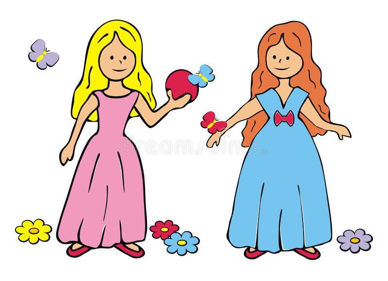 Duas princesas ilustração stock