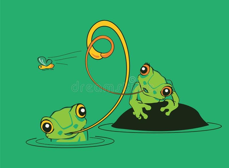 Duas râs em uma lagoa que tenta travar uma mosca ilustração royalty free