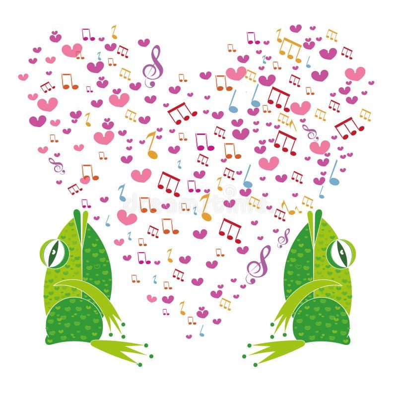 Duas rãs que cantam no coração do fundo ilustração royalty free