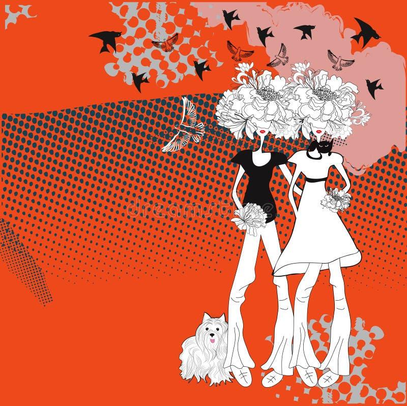 Duas raparigas ilustração royalty free